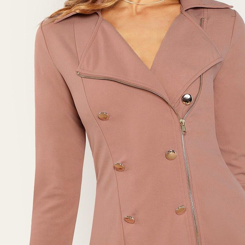 Women's Double Breasted Zipper Design Pink Mini Dress