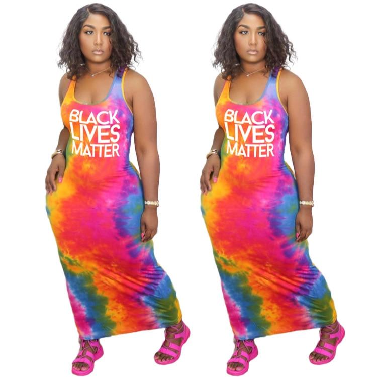Summer Women 's Tie-Dye Dress with Black Lives Matter Print